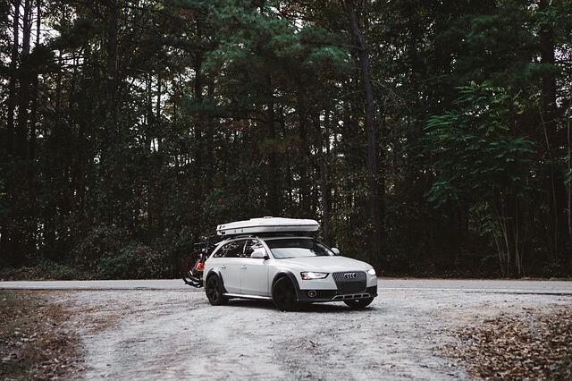 beli automobil koji se nalazi u šumi sa opremom za zimovanje