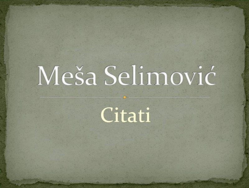 Meša Selimović: Citati (Derviš i Smrt, Tvrđava)